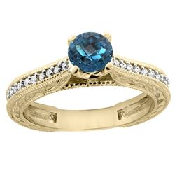 0.71 CTW London Blue Topaz & Diamond Ring 14K Yellow Gold - REF-53H3M