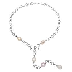 Natural 38.46 CTW Pearl & Diamond Necklace 14K White Gold - REF-114K3R
