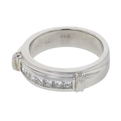 Natural 0.30 CTW Princess Diamond Band Ring W=5MM Platinum - REF-179F3M