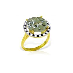 Genuine 5.2 ctw Green Amethyst, White & Black Diamond Ring 14KT Yellow Gold - REF-90Z6N