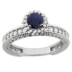 0.95 CTW Blue Sapphire & Diamond Ring 14K White Gold - REF-76F5N