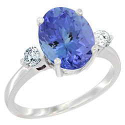 2.59 CTW Tanzanite & Diamond Ring 10K White Gold - REF-97Y8V