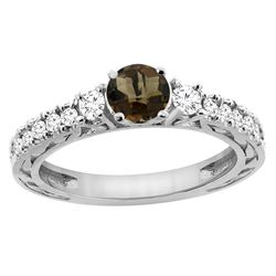 1.35 CTW Quartz & Diamond Ring 14K White Gold - REF-79R5H