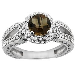 1.50 CTW Quartz & Diamond Ring 14K White Gold - REF-86Y9V