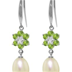 Genuine 9.01 ctw Peridot, Pearl & Diamond Earrings 14KT White Gold - REF-44V3W