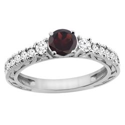 1.36 CTW Garnet & Diamond Ring 14K White Gold - REF-79F5N