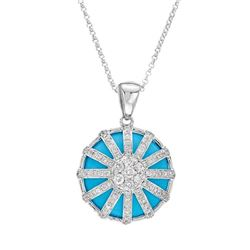 Natural 9.90 CTW Turquoise & Diamond Necklace 14K White Gold - REF-81K2R