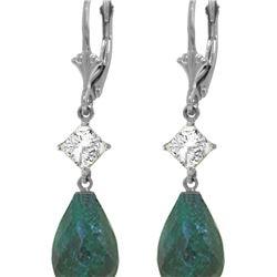 Genuine 18.6 ctw Green Sapphire Corundum & White Topaz Earrings 14KT White Gold - REF-46A7K