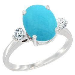 2.60 CTW Turquoise & Diamond Ring 10K White Gold - REF-67W2F