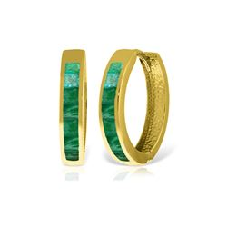 Genuine 1.85 ctw Emerald Earrings 14KT Yellow Gold - REF-71A2K