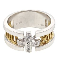 Natural 0.12 CTW Diamond Ring 18K Two Tone Yellow Gold - REF-110F7M