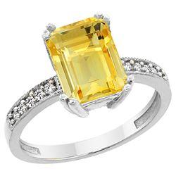 3.70 CTW Citrine & Diamond Ring 14K White Gold - REF-40R2H