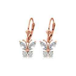 Genuine 1.24 ctw Aquamarine Earrings 14KT Rose Gold - REF-41R2P