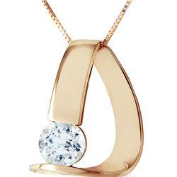 Genuine 1 ctw Aquamarine Necklace 14KT Yellow Gold - REF-51P4H