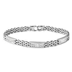 Natural 1.05 CTW Princess Diamond Bracelet 14K Gold - REF-130W5H