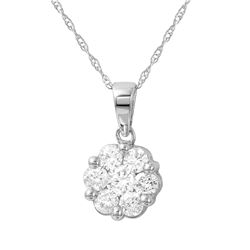Natural 0.25 CTW Diamond Necklace 14K White Gold - REF-36F2M