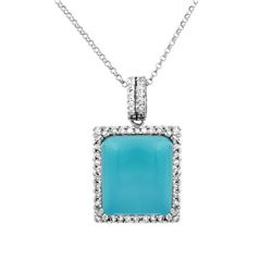 Natural 11.25 CTW Turquoise & Diamond Necklace 14K White Gold - REF-90K2R