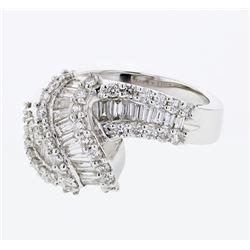 Natural 1.39 CTW Baguette & Diamond Ring 18K White Gold - REF-210W6H