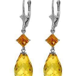 Genuine 11 ctw Citrine Earrings 14KT White Gold - REF-39A3K