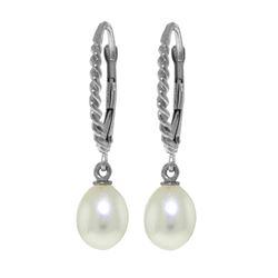 Genuine 8 ctw Pearl Earrings 14KT White Gold - REF-22Z5N