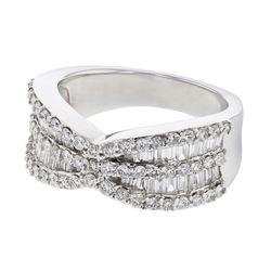 Natural 1.42 CTW Diamond & Baguette Ring 18K White Gold - REF-236K7R