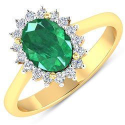 Natural 1.87 CTW Zambian Emerald & Diamond Ring 14K Yellow Gold - REF-77T3H