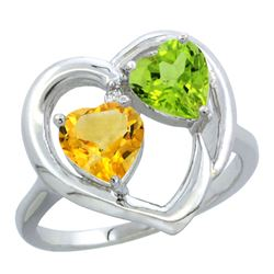 2.61 CTW Diamond, Citrine & Peridot Ring 14K White Gold - REF-33Y9V