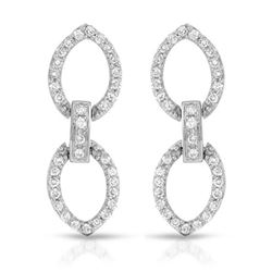 Natural 0.49 CTW Diamond Earrings 18K White Gold - REF-83K7R