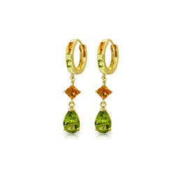 Genuine 5.15 ctw Peridot & Citrine Earrings 14KT Yellow Gold - REF-61R8P