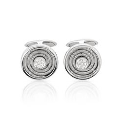 Natural 0.13 CTW Diamond Cuff Links 14K White Gold - REF-110K7R