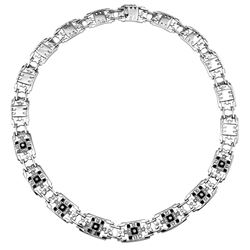 Natural 1.11 CTW Onyx & Diamond Necklace 14K White Gold - REF-450N2Y