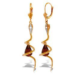 Genuine 4.56 ctw Garnet & Diamond Earrings 14KT Rose Gold - REF-91F4Z
