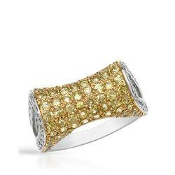 Natural 2.92 CTW Yellow Sapphire & Diamond Ring 14K White Gold - REF-105T3X