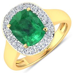 Natural 3.01 CTW Zambian Emerald & Diamond Ring 14K Yellow Gold - REF-147K3W