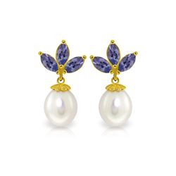 Genuine 9.5 ctw Tanzanite & Pearl Earrings 14KT Yellow Gold - REF-43V4W