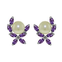 Genuine 3.25 ctw Pearl & Amethyst Earrings 14KT White Gold - REF-30V2W