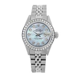 Rolex Pre-owned 26mm Womens Custom Blue MOP Stainless Steel