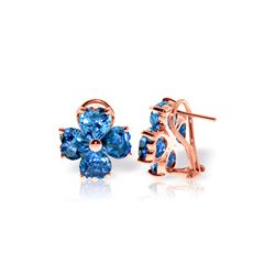 Genuine 7.6 ctw Blue Topaz Earrings 14KT Rose Gold - REF-80R6P
