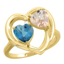1.91 CTW Diamond, London Blue Topaz & Morganite Ring 10K Yellow Gold - REF-26M8K