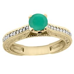 0.66 CTW Emerald & Diamond Ring 14K Yellow Gold - REF-54H4M