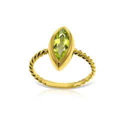 Genuine 2 ctw Peridot Ring 14KT Yellow Gold - REF-39N3R
