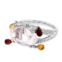 Natural 12.86 CTW Kunzite & Garnette Ring 14K White Gold - REF-102K6R