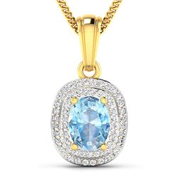 Natural 2.36 CTW Aquamarine & Diamond Pendant 14K Yellow Gold - REF-47X2K