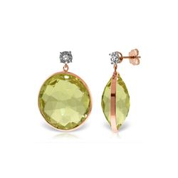 Genuine 34.06 ctw Lemon Quartz & Diamond Earrings 14KT Rose Gold - REF-65M3T