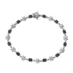 Natural 2.88 CTW Diamond & Black Round Diamond Bracelet 14K White Gold - REF-167K4R