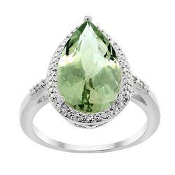 5.55 CTW Amethyst & Diamond Ring 14K White Gold - REF-44M9A