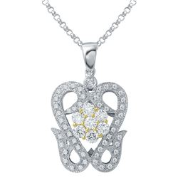 Natural 0.88 CTW Diamond & Pendant 18K Two Tone Yellow Gold - REF-151N2Y