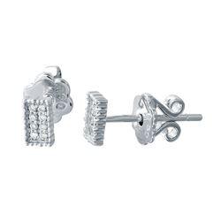 Natural 0.07 CTW Diamond Earrings 18K White Gold - REF-27F2M