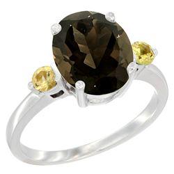 2.64 CTW Quartz & Yellow Sapphire Ring 14K White Gold - REF-32Y3V