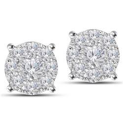 Natural 1.40 CTW Diamond Earrings 14K White Gold - REF-172W8H